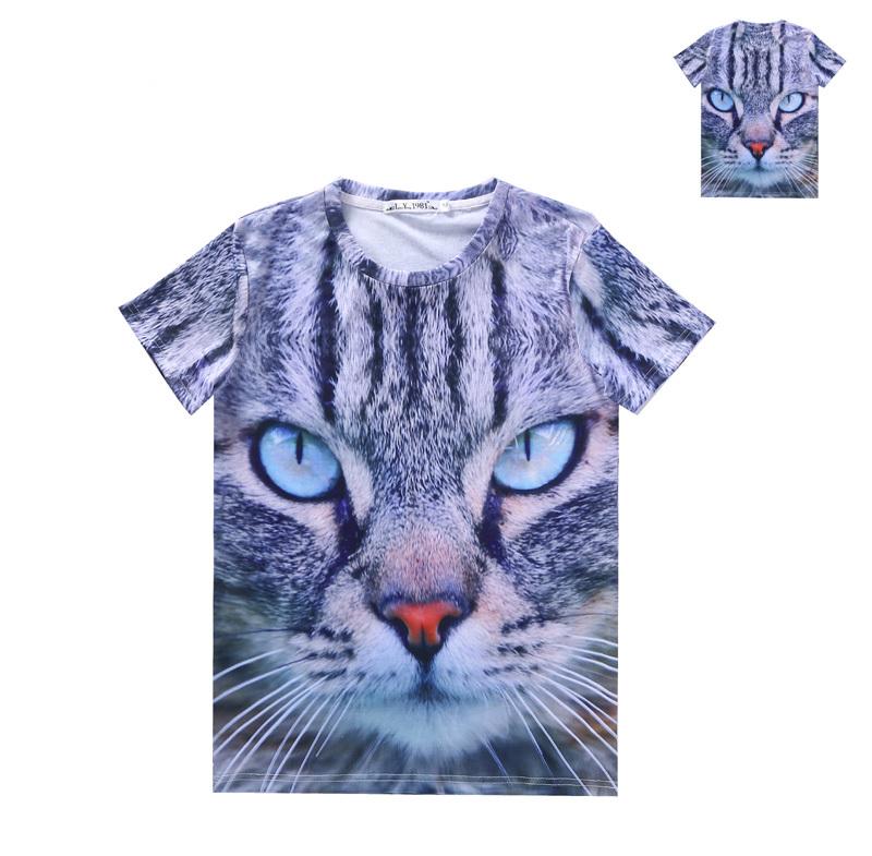 Women Men Clothing 3D Wild Beasts Pet Printed Panda Tiger Wolf Dog Cat Dinosaur T-shirt Short Sleeves Tops Tees Pattern 2(China (Mainland))