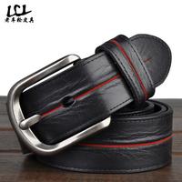 Genuine leather jeans belt men Famous designer brands High quality Cowskin Black straps free shipping LP2014012