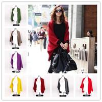 Knitted Outwear Cardigan Women Dolman Sweater LooseShawl Coat Oversized Batwing Free ShippinN