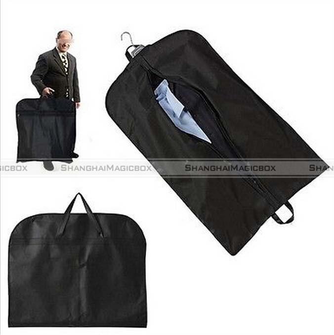 Shanghaimagicbox 1pc Black Home Dress Garment Coat Clothes Suit Cover Dustproof Zip Bag Hanger Storage 40414301(China (Mainland))