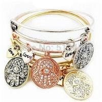 Vnistar 6pcs/lot antique silver/gold/bronze/ rose gold Alex and ani bangles & bracelets with hamsa hand sinlayed charm VAB188