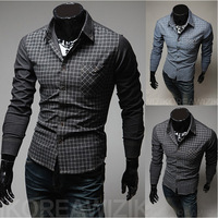 Korean Slim hit color men's plaid long-sleeved shirt casual dress shirt work shirt free shipping