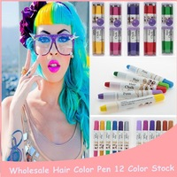 1PC 12 Colors Temporary Crayon For Hair Color Blue Mascara Professional Henna Chocolate Hair Dye Soft Pastel For Painting