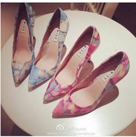 Women Spike Heels Shoes High Heels Pointed Toe Thin Heel Pumps Tie Dye Sweet Shoes 2015 New