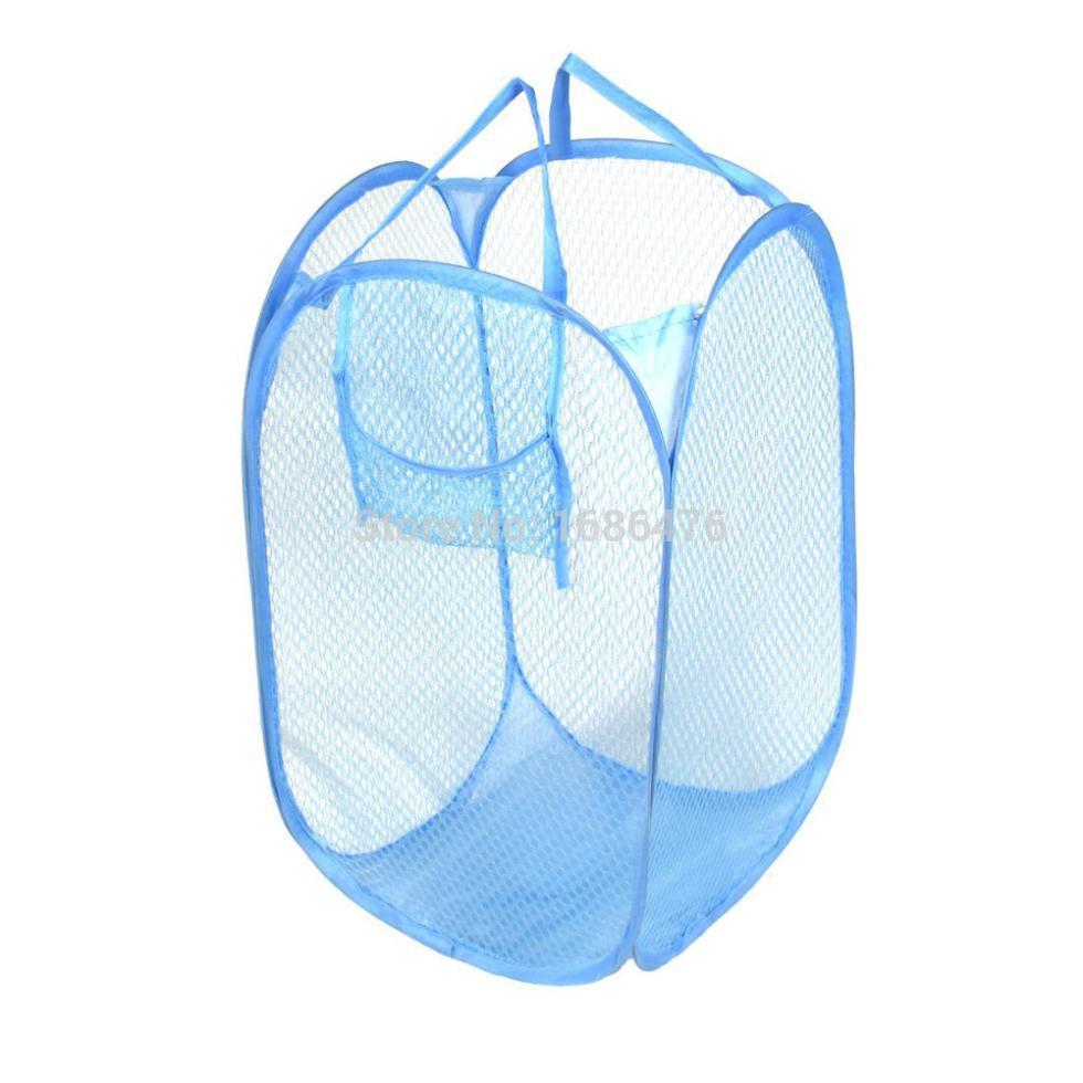 Free shipping Blue Mesh Design Foldable Storage Pop Up Laundry HamPer(China (Mainland))