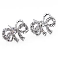 Hot Sale Fashion Full Rhinestone Bow Women Stud Sliver Earring Crystal Earrings For Women Jewelry Christmas Gift ZG-0099