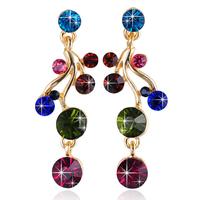 2015 New Statement Golden Earring Fashion Women Long Earring Colorful Crystal Party Earring Jewelry For Women Jewelry ZG-0110