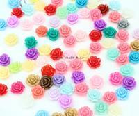 500pcs Resin Rose Cabochons 10mm beads (Assorted Colors sample pack)mini Rose flatbacks for diy