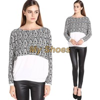 New Women's Fashion Stylish Unique Splicing Color Pattern Batwing Long Sleeve Tops Blouse T-shirt