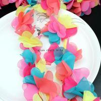 15 yards Chiffon Petal Flower Trim mix color handicraft Petal Flowers--Rainbow Blast
