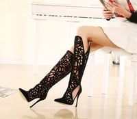 Big Size Sexy Boot Up Thigh Knee High Summer Heels Boots For Women 2015 Brand Platform Ladies Shoes 149