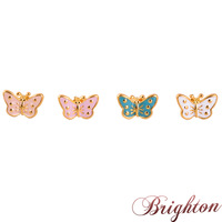 New Stud Earrings 2015 Fashion Design Romantic Vintage Butterfly Shape Gold Plated Alloy Enamel Cute Brincos For Women Girls