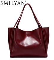Smilyan casual genuine leather candy color shopping hand bag women shoulder bag bolsas purses and designer handbags high quality