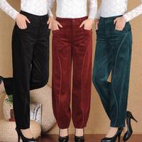 2015 New Spring Autumn Pants Women Plus Size Leisure corduroy tall waist loose pants wide leg winter Mother Trousers 27-34