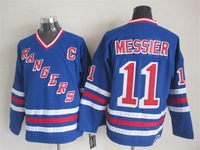 Throwback New Hockey Jerseys New York Rangers #11 Messier jersey Home Blue Color CCM Size 48-56 Stitched Mix Match Order