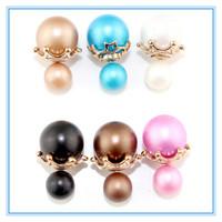 Women Jewelry Fashionable Double Pearl Stud Earrings Round Beads Double Side Wear Earrings