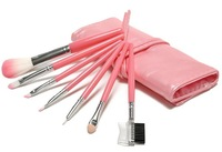 HOT !! Professional High Quality 7 Makeup Brush Set in Sleek Pink Golden Leather-Like Case Portable Make up Brushes