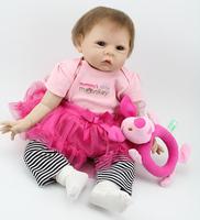 Newborn  Doll Collectible 22 inch/55cm Cute  Lifelike Silicone Reborn Baby Dolls Toy For Children