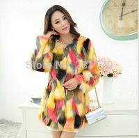 2014 Autumn Colorful Fur Coat Female Fox Faux Fur Warm Jacket Long Sleeve Winter Overcoat Outwear Plus Size S-3XL 2 Color