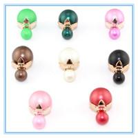 Fashionable Double Pearl Stud Earrings 8 Colors Round Beads Double Side Wear Earrings