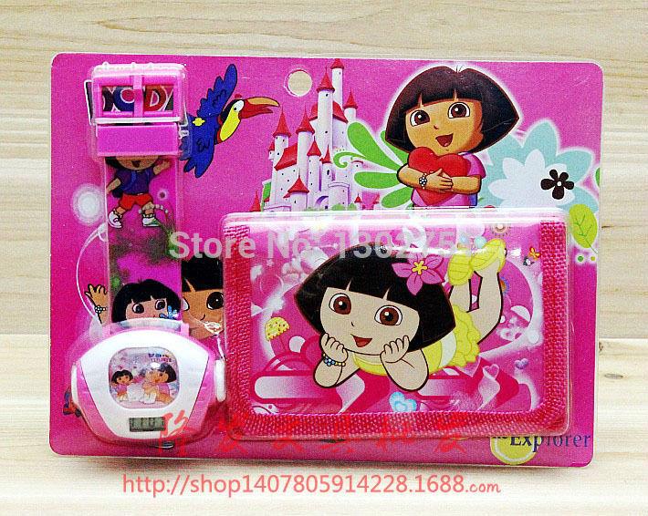1pc 2015 New children girls boys cartoon Dora coin wallet wristwatches projection kids purse+luminous watch set baby toy gift(China (Mainland))