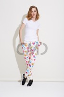 2015 new fashion women's cute Ribbon Print pants.free shipping.casual and slim style.spring and summer pants.hot sale.