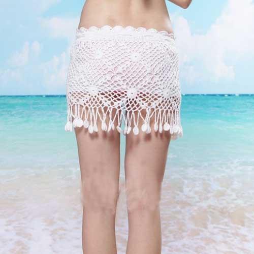 2015 Women Girls Sexy Fashion Crochet Hollow Handmade Crochet Cotton Lace Mini Skirt Beach Skirt(China (Mainland))