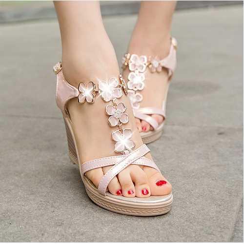 2015 Brand Shining Rhinestone Flower Wedges T- strap Sandals High heel Platform Sandals Summer Shoes Women Shoes woman Sandals(China (Mainland))
