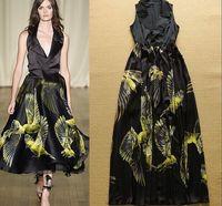 2015 Newest Women Runway Summer Black Bird Print  Long Dress Elgent Slim Tank Maxi Party Dress  S-L Free Shipping