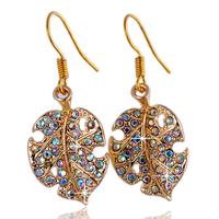 2015 New Fashion Golden Earrings Women Crystal Jewelry For Women Leaf Dangle Earring Vintage Golden Earring ZG-0106