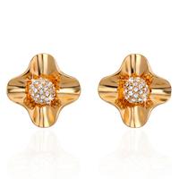2015 New Hot Sale High Quality Golden Wedding Earrings For Women Crystal Stud Earring Fashion Women Wedding Jewelry ZG-0105