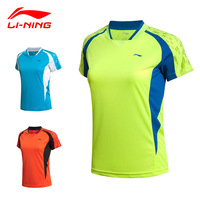 2015 New LINING Women Badminton Sport shirts Women Quick Dry Polyester Tennis and Badminton Sport Tops AAYK052 Size S-XXL