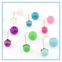 New Fashion Elegant Jewelry Earrings Round Double Pearl Temperament Stud Earrings 8 Colors Big/Small Pearl Earrings