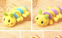 Cute Rainbow Colors 13CM Caterpillar DOLL Plush Stuffed TOY Soft Figure Key Chain TOY BAG Pendant TOY ; Gift TOY DOLL