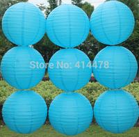 Free shipping 10pcs/lot 8''(20cm) Round paper lantern Sky blue paper lantern lamps festival wedding decoration paper lanterns