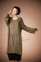 2015 Spring new women simple and generous fashion taste slim knit loose big yard mecerized cotton sweater
