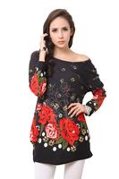 2015 free shipping vestidos  women dress free size women clothing rose dress Loose Sexy Shirt Dress