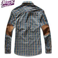 UDOD High Quality Spring Mens Casual Shirts Fashion England Plaid Shirts Cotton Long Sleeves Patchwork M L XL XXL XXXL JR8318