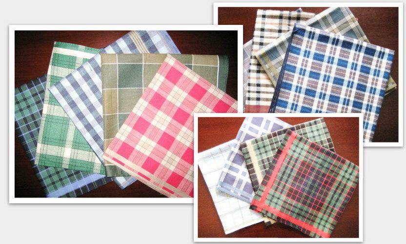 6 pieces / half dozen checks pattern 100% cotton handkerchiefs ( QS )(China (Mainland))