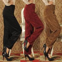 2015 Brand High Quality Spring Autumn tall waist Pants Women Plus Size Loose lantern Corduroy radish winter Mother Trousers