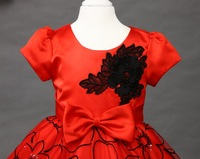 free shipping Flower girls dresses new high-end three-dimensional embroidery princess dress red short-sleeved Children clothes
