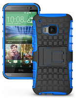 Mix Color TPU&PC Heavy Duty armor case for HTC One M9  case with stand Protective Skin Double Color Shock Prooffor #100