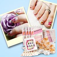 74pcs Mix kit 3D Nail Art and water Stickers + Gold Silver Foil Set for nail art uv gel false tips DIY color decoration
