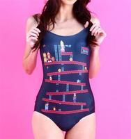 Swimwears Women Donkey Kong Swim Beach Wear 2015 Punk Fashion Bodysuit One Piece bathsuit Printed Sexy Swimsuit S125-232