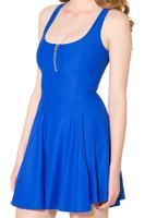Sport Fashion Summer Women Blue Matte Royal Blue Evil Zip Dress Skater Vestidos Bodycon Casual Work Dresses S119-295