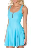 Women Casual Work Dresses A-line Digital Printing Matte Zipper Dress Vestidos Bodycon Drop Shipping S119-293