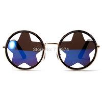 Round vintage sunglasses women Five-pointed star shape personality sunglasses men unisex  Sun glasses with mercury lens 0052