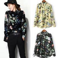 2015 New Fashion Ladies' Elegant floral print blouses stylish turn-down long sleeve OL shirts casual slim brand tops 2 color
