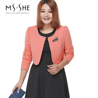 Msshe plus size clothing twinset three-dimensional decoration long-sleeve o-neck one-piece dress solid color slim 5727