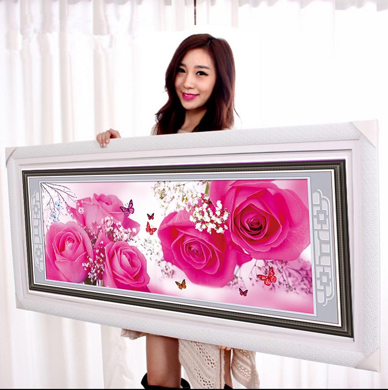 128*51 diamond mosaic rose pattern painting rhinestones 5d diy round diamond embroidery costura pictures home decoration 1056(China (Mainland))